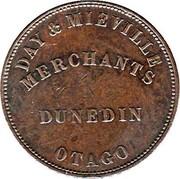 New Zealand Penny Day & Mieville / Dunedin 1857 KM# Tn16 DAY & MIEVILLE MERCHANTS DUNEDIN OTAGO coin reverse