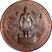 UK Penny Kinrosshire - Loch Leven / Castle 1797  * ANTIENT SCOTTISH WASHING * HONI.SOIT.QUI.MAL.Y.PENSE coin reverse
