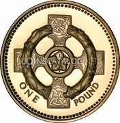 UK Pound Celtic Cross of Northern Ireland 1996 Proof KM# 972 ONE POUND coin reverse