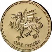 UK Pound Dragon of Wales 2000 Proof KM# 1005 ONE POUND coin reverse