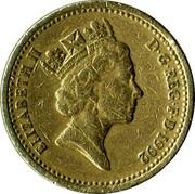 UK Pound English Oak 1992 KM# 948 ELIZABETH II D∙G∙REG∙F∙D∙1987 RDM coin obverse