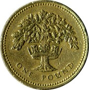 UK Pound English Oak 1992 KM# 948 ONE POUND coin reverse