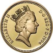 UK Pound Scottish Arms 1994 Proof KM# 967 ELIZABETH II D∙G∙REG∙F∙D∙1994 RDM coin obverse