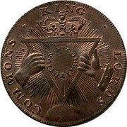 UK Sise Lane Halfpenny (Middlesex - London / Davidson's) COMMONS - KING - LORDS . BS . CONSTITUTION coin reverse