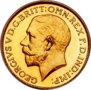UK Sovereign George V 1911 Proof KM# 820 GEORGIVS V D.G.BRITT:OMN:REX F.D.IND:IMP: coin obverse