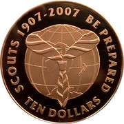 New Zealand Ten Dollars Centenary of Scouting 2007 (l) Proof KM# 305 SCOUTS 1907-2007 BE PREPARED TEN DOLLARS coin reverse