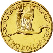 New Zealand Two Dollars White Heron 1996 (l) Proof KM# 79 TWO DOLLARS coin reverse