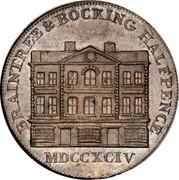UK 1/2 Penny (Essex - Braintree / W. Goldsmith) BRAINTREE & BOCKING HALFPENCE MDCCXCIV coin obverse
