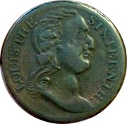 UK 1/2 Penny Louis the Sixteenth - Britons Happy Isle ND (1760-1797)  LOUIS THE SIXTEENTH coin obverse
