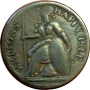 UK 1/2 Penny Louis the Sixteenth - Britons Happy Isle ND (1760-1797)  BRITONS HAPPY ISLE. coin reverse