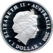 Australia 1 Dollar Australian Olympic Team 2008 Proof ELIZABETH II AUSTRALIA 2008 1 DOLLAR IRB coin obverse