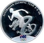 Australia 1 Dollar Australian Olympic Team 2008 Proof AUSTRALIAN OLYMPIC TEAM 8 - 8 - 08 1 OZ 999 SILVER P coin reverse