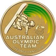 Australia 1 Dollar XXIII Olympic Winter Games Pyeongchang 2018 Frosted Unc AUSTRALIAN OLYMPIC TEAM PYEONGCHANG 2018 coin reverse