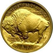 USA $10 Buffalo 2008 W KM# 412 UNITED STATES OF AMERICA E PLURIBUS UNUM $10 1/4 OZ. .9999 FINE GOLD IN GOD WE TRUST coin reverse