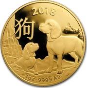 Australia 100 Dollars Lunar Year of the Dog 2018 2018 1 OZ .9999 AU coin reverse