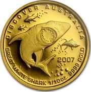 Australia 15 Dollars Discover Australia - Great White Shark 2007 KM# 1151 DISCOVER AUSTRALIA GREAT WHITE SHARK 1/10 OZ. 9999 GOLD 2007 P RV coin reverse