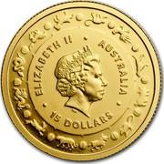 Australia 15 Dollars Lunar Year of the Dog 2018 ELIZABETH II AUSTRALIA 15 DOLLARS IRB coin obverse