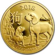 Australia 15 Dollars Lunar Year of the Dog 2018 2018 1/10 OZ .9999 AU coin reverse