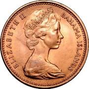 New Zealand 2 Cents Elizabeth II (2nd portrait) 1967 KM# 33 ELIZABETH II BAHAMA ISLANDS coin obverse