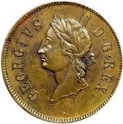 USA 2 Pence 1733 KM# 16 Rosa Americana GEORGIVS II • D • G • REX coin obverse
