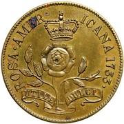 USA 2 Pence 1733 KM# 16 Rosa Americana ROSA AMERICANA UTILE DULCI coin reverse