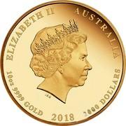 Australia 2000 Dollars Jewelled Phoenix 2018 P Proof ELIZABETH II AUSTRALIA 10 OZ 9999 GOLD 2018 2000 DOLLARS IRB coin obverse