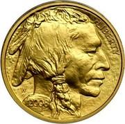 USA $25 American Buffalo 2008 W KM# 413 LIBERTY W 2008 coin obverse