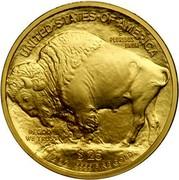 USA $25 American Buffalo 2008 W KM# 413 UNITED STATES OF AMERICA E PLURIBUS UNUM $25 1/2 OZ. .9999 FINE GOLD IN GOD WE TRUST coin reverse
