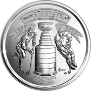 Canada 25 Cents 125th Anniversary of The Stanley Cup 2017 COUPE STANLEY MC CUP ® 125 YEARS/ANS ®/MC SH 1892 2017 coin reverse