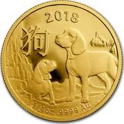 Australia 25 Dollars Lunar Year of the Dog 2018 2018 1/4 OZ .9999 AU coin reverse
