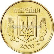 Ukraine 25 Kopiyok Without mintmark 2008 Prooflike KM# 2.1b УКРАЇНА coin obverse