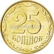 Ukraine 25 Kopiyok Without mintmark 2008 Prooflike KM# 2.1b 25 КОПІЙОК coin reverse