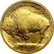 USA $25 Twenty five Dollars American Buffalo 2008 W KM# 413 UNITED STATES OF AMERICA E PLURIBUS UNUM $25 1/2 OZ. .9999 FINE GOLD IN GOD WE TRUST coin reverse