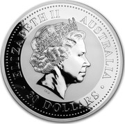 Australia 30 Dollars Year of the Snake (Diamond Eye) 2001 ELIZABETH II AUSTRALIA 30 DOLLARS IRB coin obverse