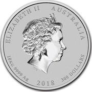 Australia 300 Dollars Year of the Dog 2018 ELIZABETH II AUSTRALIA 10 KG 9999 AG 2018 300 DOLLARS IRB coin obverse