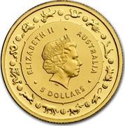 Australia 5 Dollars Lunar Year of the Dog 2018 ELIZABETH II AUSTRALIA 5 DOLLARS IRB coin obverse