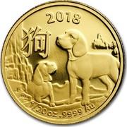 Australia 5 Dollars Lunar Year of the Dog 2018 2018 1/20 OZ .9999 AU coin reverse