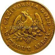 USA $5 Five Dollars (Half eagle) 1849 KM# 41.4 Norris, Greig, & Norris CALIFORNIA GOLD WITHOUT ALLOY coin obverse