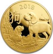 Australia 50 Dollars Lunar Year of the Dog 2018 2018 1/2 OZ .9999 AU coin reverse