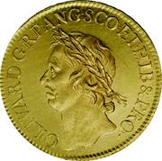 UK 50 Shillings Oliver Cromwell 1656 KM# Pn24 OLIVAR ∙ D ∙ G ∙ RP ∙ ANG ∙ SCO ∙ ET ∙ HIB & PRO ∙ coin obverse