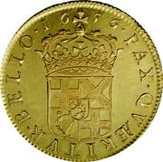 UK 50 Shillings Oliver Cromwell 1656 KM# Pn24 ∙ PAX ∙ QVÆRITVR ∙ BELLO ∙ coin reverse