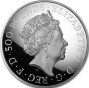 UK 500 Pounds Year of the Rooster 2017 Proof ELIZABETH II D G REG F D 500 POUNDS J.C coin obverse