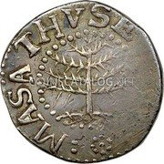 USA 6 Pence 1652 KM# 13 Pine Tree MASATHVSETS IN coin obverse