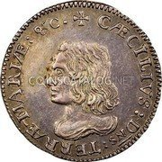 USA 6 Pence Lord Baltimore 1659 KM# 4 CAECILIVS : Dns : TERRAE - MARIAE : &C • coin obverse