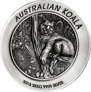 Australia 60 Dollars Australian Koala 2018 P Antique High Relief AUSTRALIAN KOALA 2018 2 KILO 9999 SILVER P coin reverse