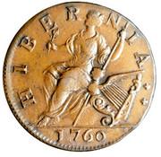 USA Farthing Hibernia Voce Populi 1760 Small letters KM# Tn21.2 HIBERNIA coin reverse