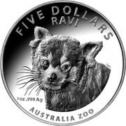 Australia Five Dollars Ravi 2018 High Relief Proof FIVE DOLLARS RAVI 1 OZ .999 AG AUSTRALIA ZOO SMS coin reverse
