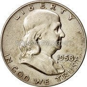 USA Half Dollar Franklin 1958 D KM# 199 LIBERTY IN GOD WE TRUST coin obverse