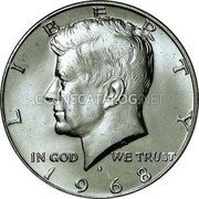 USA Half Dollar Kennedy 1968 D KM# 202a LIBERTY IN GOD WE TRUST coin obverse