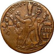 USA Halfpenny 1682 KM# 2 St. Patrick or Mark Newby ECCE GREX coin reverse